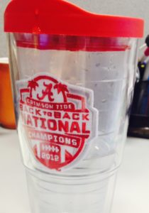 My trusty water cup, always at my desk.